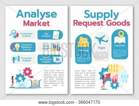 Analyse Market Brochure Template. Supply Request Goods. Flyer, Booklet, Leaflet Concept With Flat Il