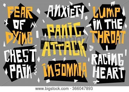 Symptoms Of A Panic Attack And Depressive Disorders. Hand Drawn Vector Lettering Anxiety, Insomnia,