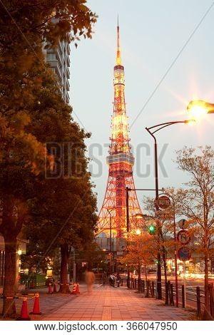 Tokyo, Kanto Region, Honshu, Japan - April 18, 2010: An Illuminated View Of The Tokyo Tower In Minat