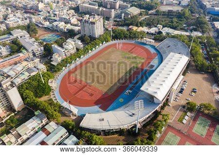 Nantou, Taiwan - December 18th, 2019: aerial view of Nantou Stadium, Taiwan, Asia