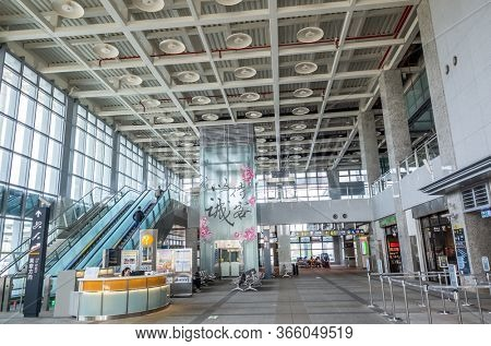 Miaoli, Taiwan - November 14th, 2019: interior of modern architecture of Taiwan High Speed Rail, Miaoli county, Taiwan, Asia