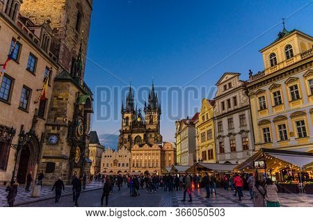 Prague, Czech Republic, May 13, 2019: People Are Walking On Old Town Square Stare Mesto Historical C