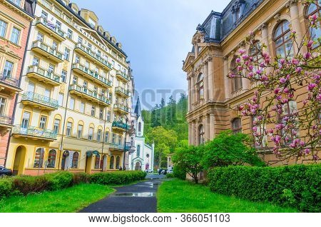 Karlovy Vary, Czech Republic, May 11, 2019: Carlsbad Historical City Centre With Colorful Beautiful