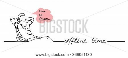 Offline Time Simple Vector Illustration , Web Banner, Background. Man Sits In Chair In Relaxing Pose
