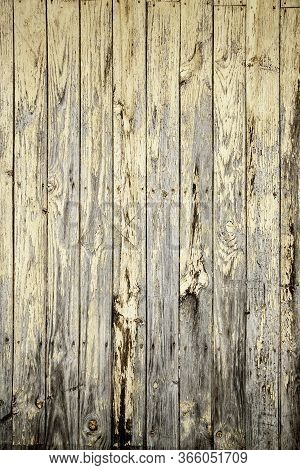 Old And Damaged Wooden Background, Detail Of Abandonment And Passage Of Time