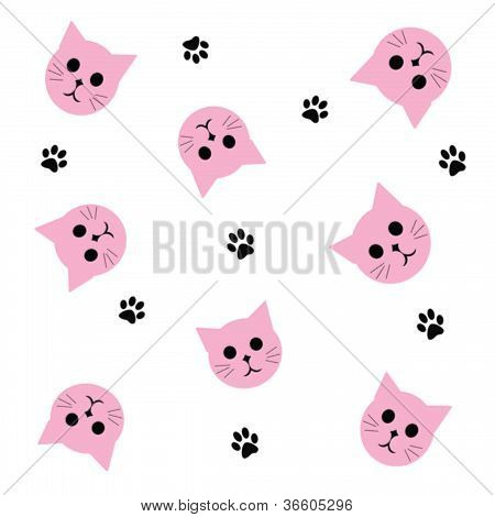 pink kitty faces scattered on white background illustration poster