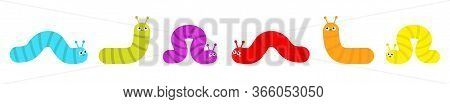 Caterpillar Set. Insect Icon Line. Cute Crawling Bug. Cartoon Funny Kawaii Baby Animal Character. Sm