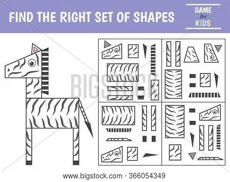 Educational Game For Kids. Geometrical Figure Zebra. Find The Correct Block With Geometric Shapes. P