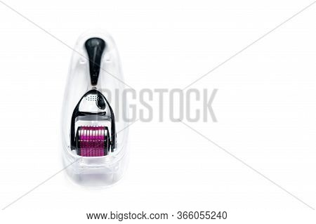 Derma Roller Isolated On White Background. Beauty Treatment, Mesotherapy Or Medical Collagen Product