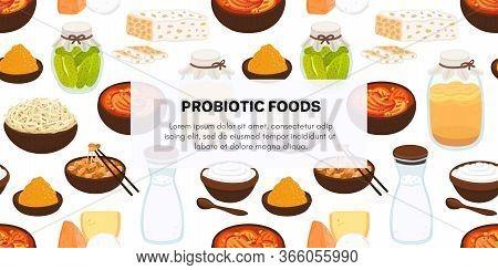 Vector Background With Probiotic Foods. Best Sources Of Probiotics. Beneficial Bacteria Improve Heal