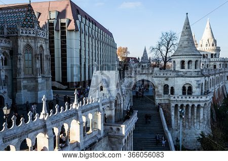 Budapest, Hungary - November 25, 2019: The Fisherman's Bastion, One Of The Most Important Tourist At