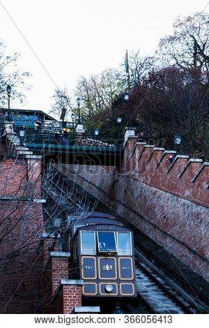 Budapest, Hungary - November 25, 2019: Budapest Funicular Or Budavári Sikló, Funicular Railway.