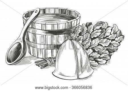 Bath Accessories, Russian Sauna, Water, Steam Broom, Hand Drawn Vector Illustration Realistic Sketch