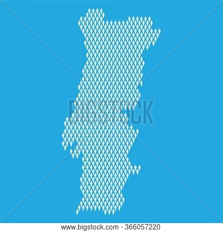 Portugal Population. Statistic Map Made From Stick Figure People