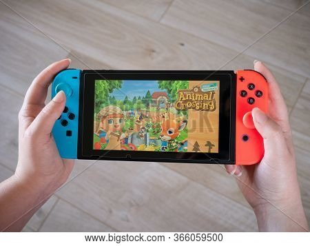 May 2020, Uk: Nintendo Switch Animal Crossing New Horizons Handheld Console View From Player