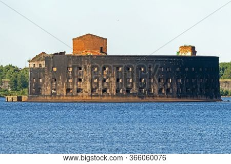 View Of The Fort Alexander I Or Plague Kronstadt Fortress Located In The Waters Of The Gulf Of Finla