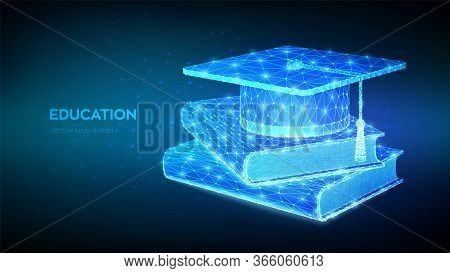 Graduation Cap And Books. Abstract Low Polygonal Student Hat With Books. E-learning Concept. Innovat