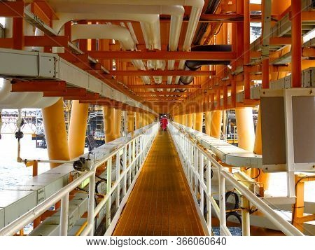 Gangway Or Walk Way In Oil And Gas Construction Platform, Oil And Gas Process Platform, Remote Platf