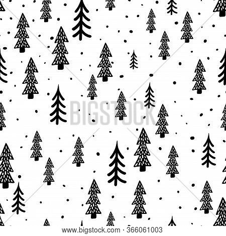 Winter Forest Scandinavian Hand Drawn Seamless Pattern. New Year, Christmas, Holidays White Texture