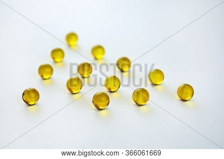 Fish Oil Supplement Capsules,  Aevit  Isolated On White Background. Food Supplement, Health Care And