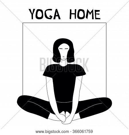 Woman Doing Yoga At Home. Illustration With Pose Baddha Konasana, Bound Angle Pose.