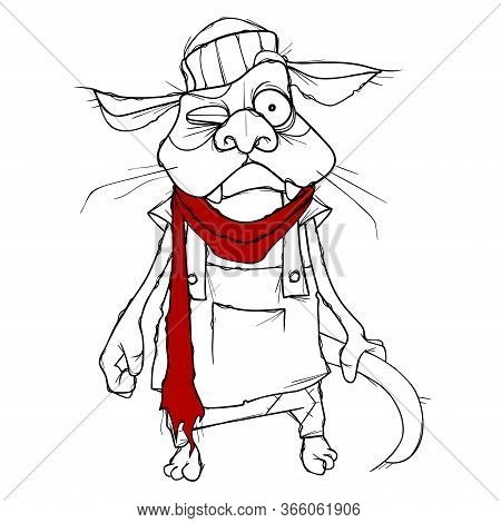 Cartoon Puzzled Cat In Clothes With Red Scarf