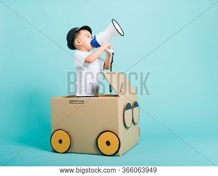 Happy Asian Children Boy Smile In Driving Play Car Creative By A Cardboard Box Imagination With Mega