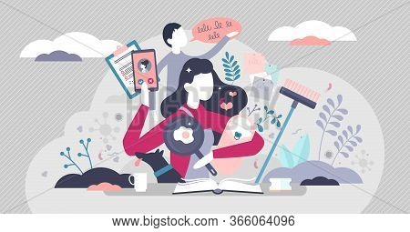Busy Mom Vector Illustration. Mother Routine House Works Flat Tiny Persons Concept. Multitasking Cha