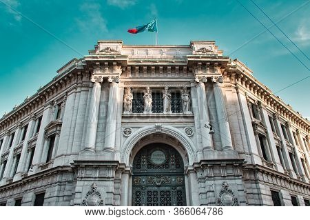 Milan, Italy 05.12.2020: Main Entrance Of The Bank Of Italy Building With An Enormous Wrought Iron,