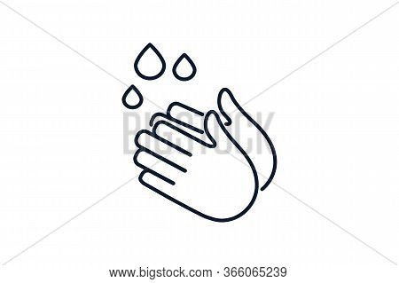 Washing Hands With Soap Vector Sign. Clean Hands Flat Vector Icon. Hygiene Symbol. Obligatory Hand W