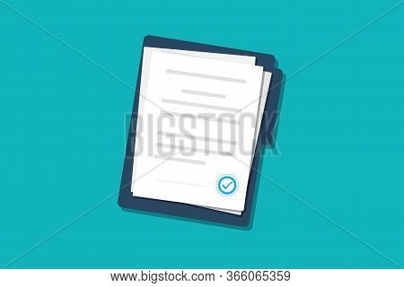 Documents Papers. Contract. Folder With Stamp And Text. Folder And Stack Of White Papers Of Agreemen