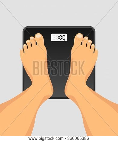 Person Standing On Floor Scales. Feet On Weighing Scales Top View. Floor Scales For Weighing Body We