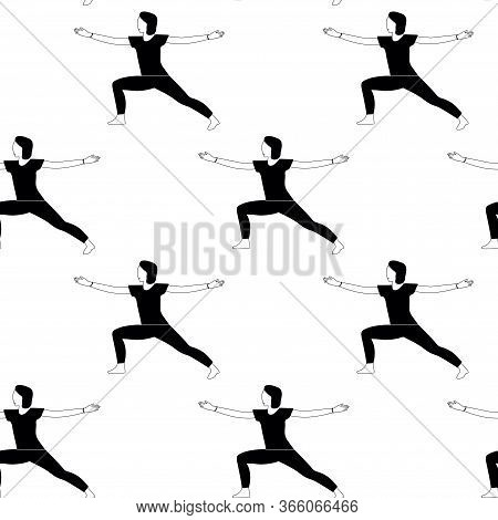 Seamless Pattern With Woman Doing Yoga At Home. Illustration With Warrior Pose, Virabhadrasana.