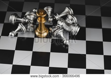 Victory. Top View Gold King Chess With Silver Chess Pawns Pieces On Chess Board Game Competition On