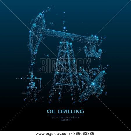 Oil Pump Jack In Dark Blue Background. Finance, Economy, Business Or Petroleum Fuel Industry Concept