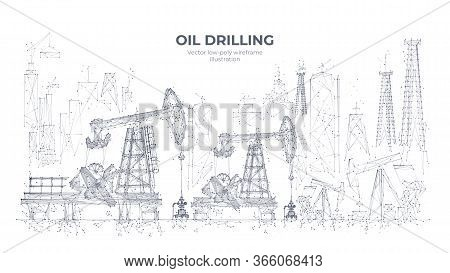 Natural Resources Mining Equipment Isolated In White Background. Abstract Polygonal Panorama. 3d Oil