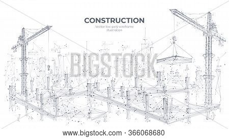 Construction Site With Building Equipment Isolated In White Background. 3d Working Tower Cranes In T