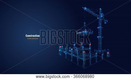 Building Work Process With Construction Equipment In Dark Blue Background. High Tower Crane Holding