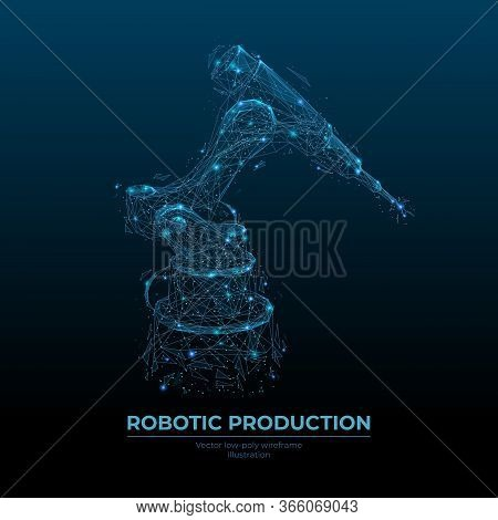 Abstract Robotic Tool. Low Poly Wireframe Looks Like Constellation. Digital Vector Illustration With