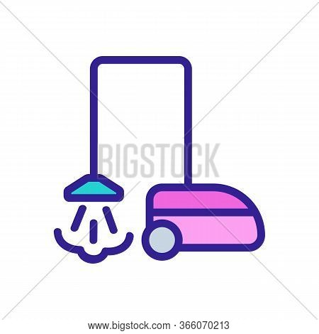 Steam Household Vacuum Cleaner Icon Vector. Steam Household Vacuum Cleaner Sign. Color Symbol Illust