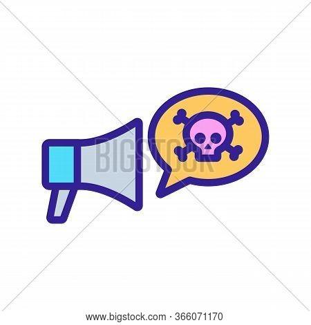 Hacker Danger Loudspeaker Icon Vector. Hacker Danger Loudspeaker Sign. Color Symbol Illustration