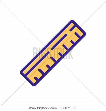 Wooden Conventional Ruler Icon Vector. Wooden Conventional Ruler Sign. Color Symbol Illustration