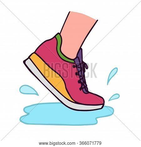 Vector Illustration Of Running Shoe With Water Splash