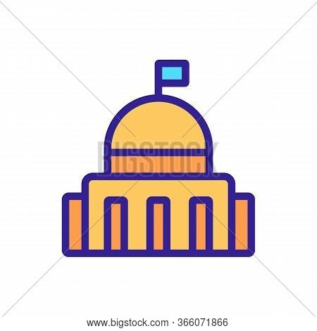 Political Government Building Icon Vector. Political Government Building Sign. Color Symbol Illustra