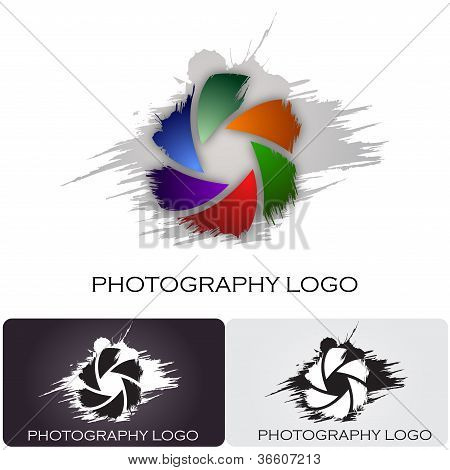 Photography company logo brush style #Vector
