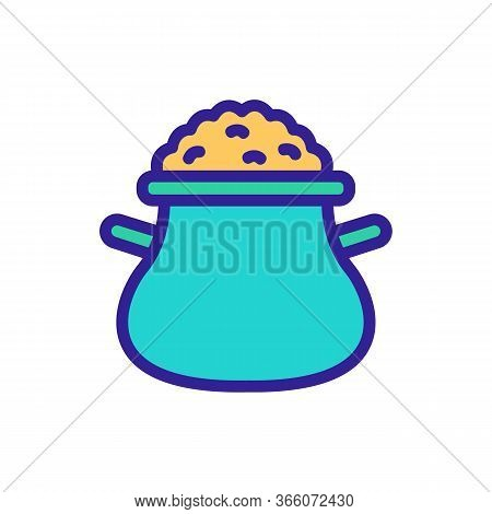 Porridge Filled Jug With Handles Icon Vector. Porridge Filled Jug With Handles Sign. Color Symbol Il