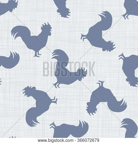 Seamless French Farmhouse Cockerel Silhouette Pattern. Farmhouse Linen Shabby Chic Style. Hand Drawn