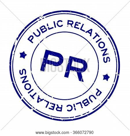 Grunge Blue Pr Public Relations Word Round Rubber Seal Stamp On White Background