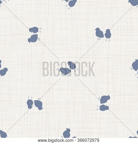 Seamless French Farmhouse Chick Silhouette Pattern. Farmhouse Linen Shabby Chic Style. Hand Drawn Ru