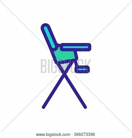 Safety Chair For Feeding With Tabletop And With Footboard Side View Icon Vector. Safety Chair For Fe